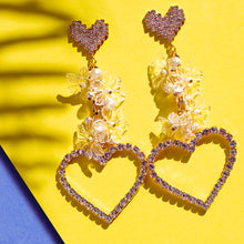 Load image into Gallery viewer, Heart Crystal statement Earrings