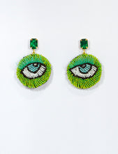 Load image into Gallery viewer, Emerald Eye Motif Earrings