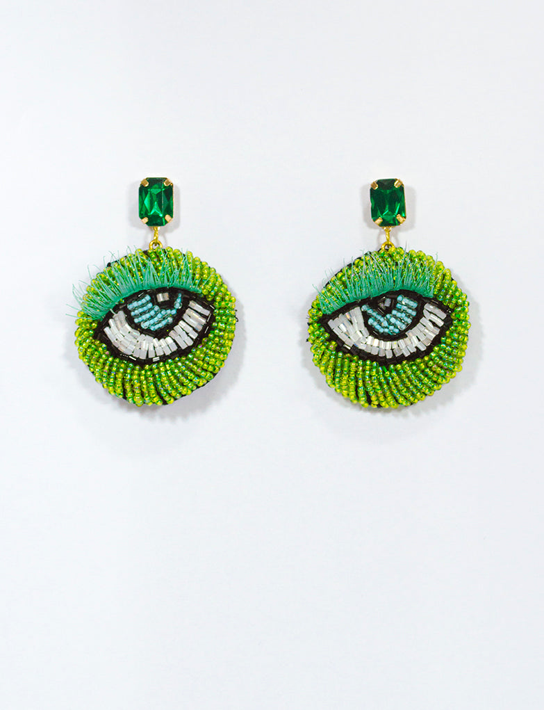 Emerald Eye Motif Earrings