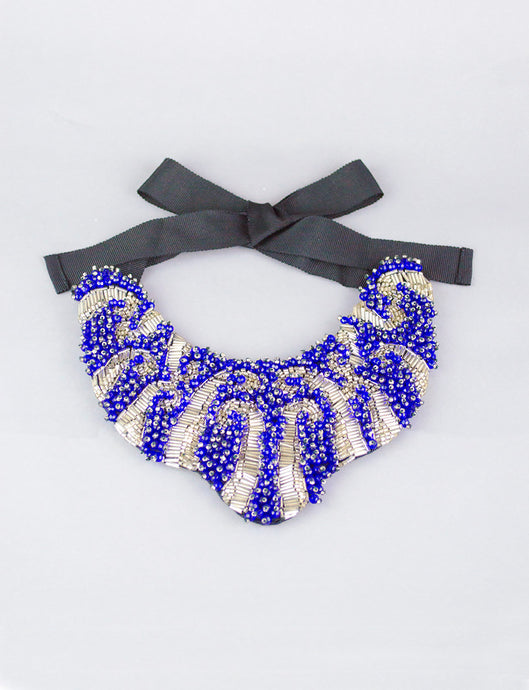 Midnight Blue and Silver Beaded Statement Necklace
