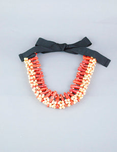 Coral and Pearl Statement Necklace