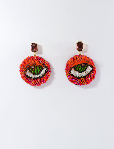 Red Beaded Eye Motif Earrings