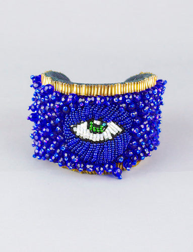 Hand Embroidered Eye Cuff in Blue