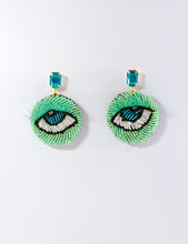 Load image into Gallery viewer, Green  & Blue  Beaded Eye Earrings