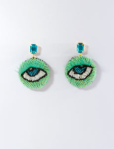 Green  & Blue  Beaded Eye Earrings