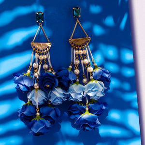 Blue Rose & Pearl Chandelier statement Earrings