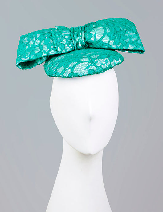 Teal Oversized Lace Bow Fascinator