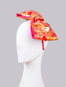 Red Paisley Bow Fascinator