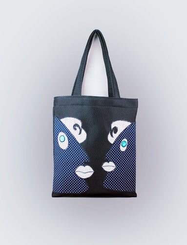 Black Applique Tote Bag