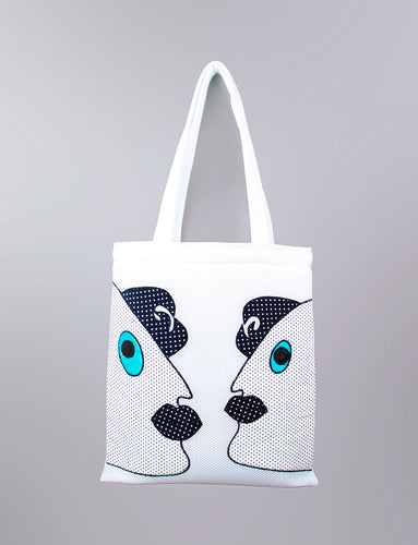 White Appliqué Tote Bag