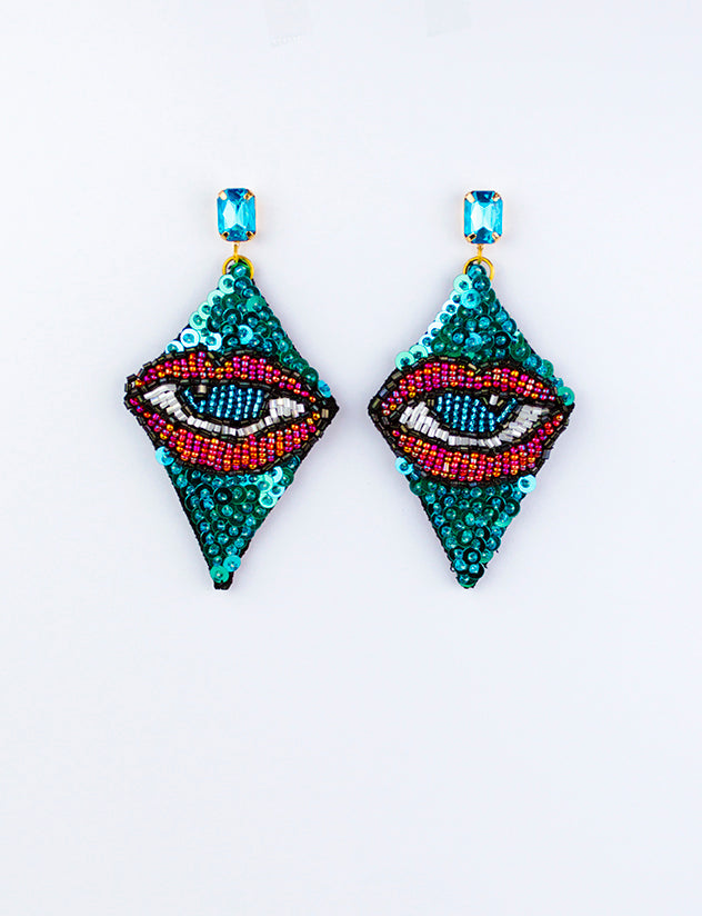 Blue Diamond Beaded Eye Earrings