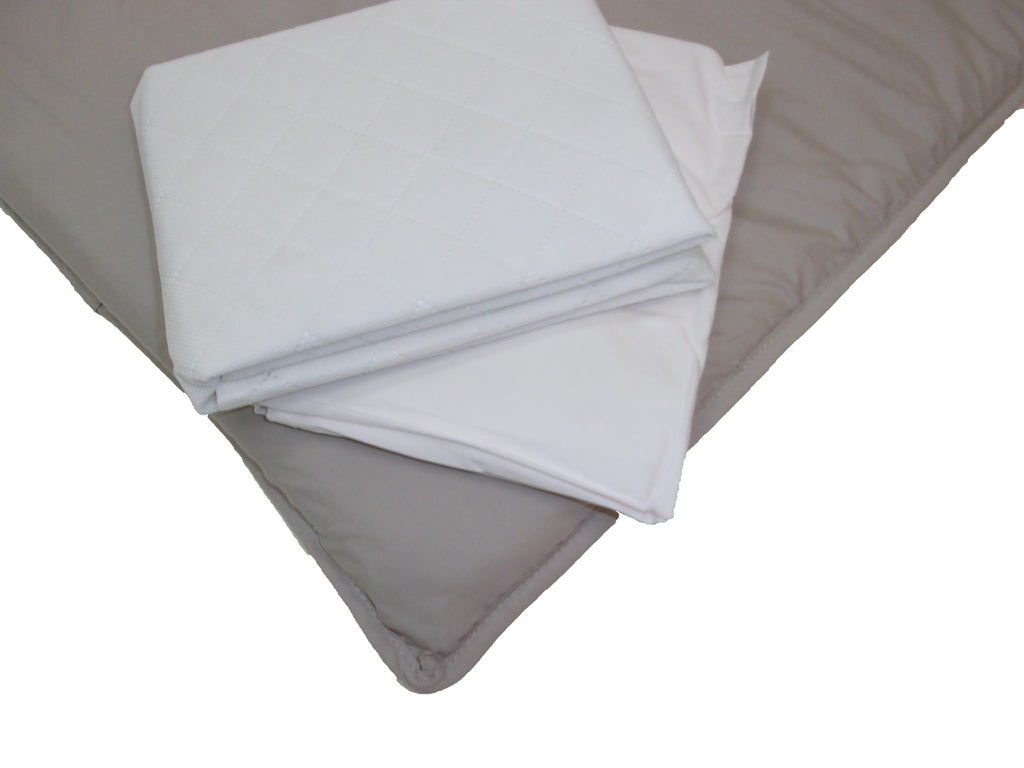 BUNDLE - 1 MATTRESS PROTECTOR, 2 FITTED SHEETS
