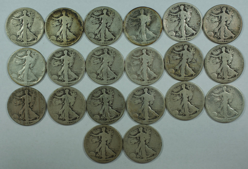 1921-S Walking Liberty Half Dollar 50c Roll 20 Circulated 90% Silver Coins Lot