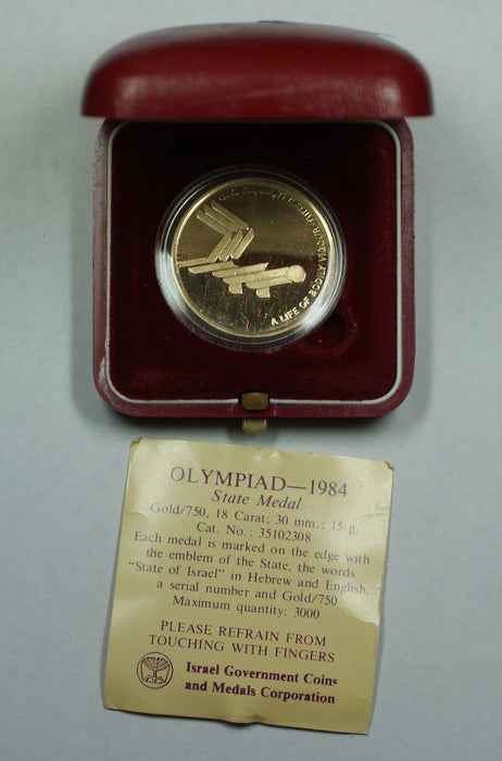 1984 Israel Olympics Commemorative 15g 18k Proof Gold State Medal with Box & COA