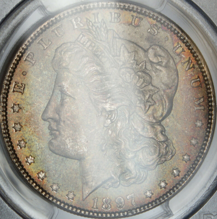 1897 Morgan Silver Dollar, PCGS MS-64, Beautifully Toned, DGH