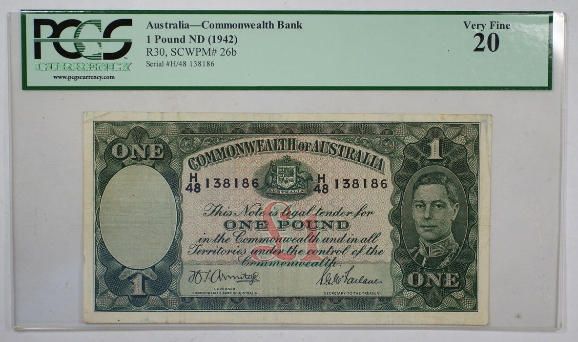 1942 Australia 1 Pound ND Commonwealth Banknote PCGS Very Fine 20