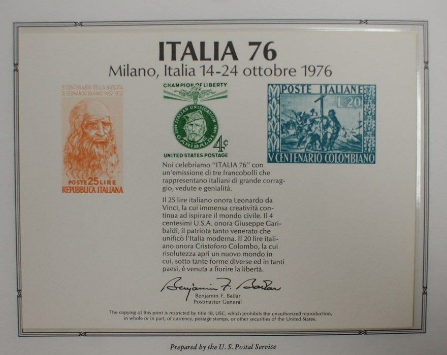 souvenir card PS 23 Italia 1976 1960 4¢ Garibaldi stamp