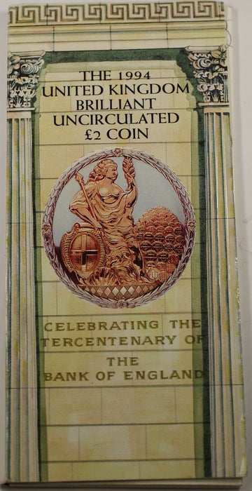 1994 Great Britain UK 2 Pounds BU UNC Tercentenary Coin Royal Mint Folder