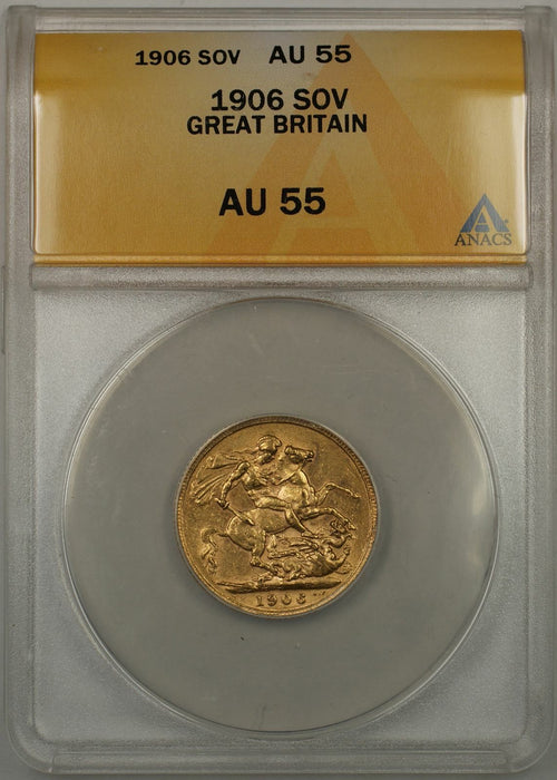 1906 Great Britain Sovereign Gold Coin ANACS AU-55 (AMT)