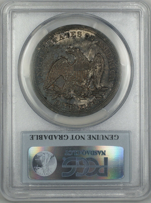 1847 Seated Liberty Silver Dollar Coin PCGS Genuine AU Details Beautifully Toned