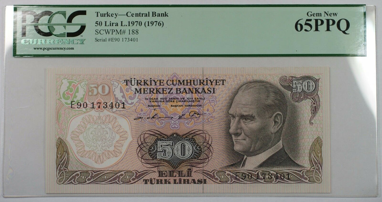 L.1970 (1976) Turkey Central Bank 50 Lira Note SCWPM# 188 PCGS 65 PPQ Gem New