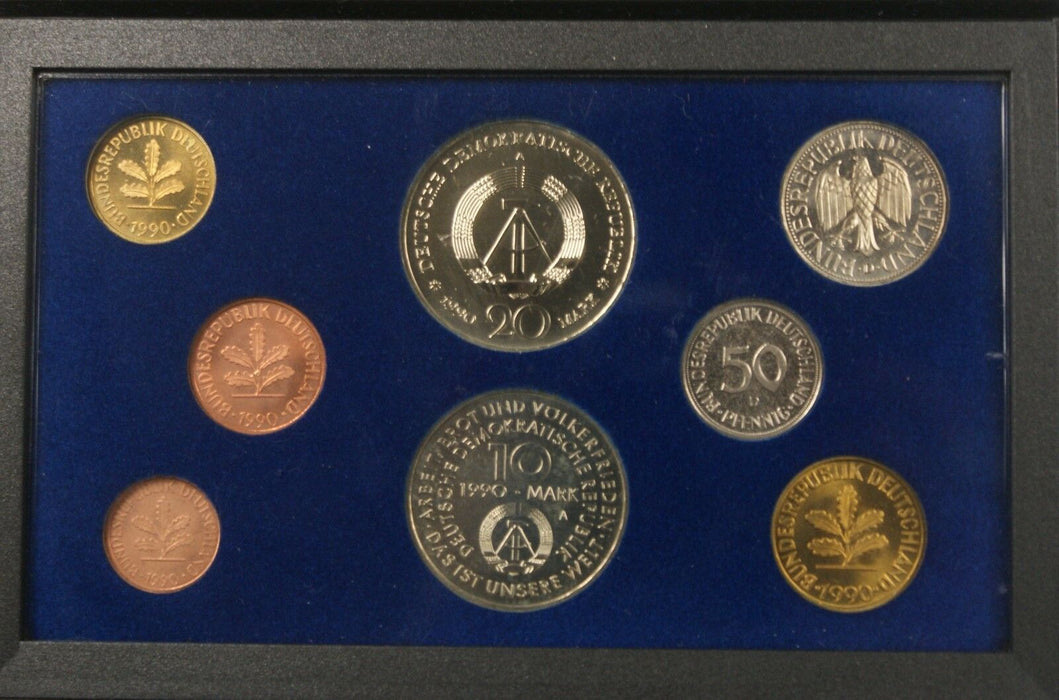 1990 German Eight Coin 1 Silver Uncirculated Set in Blue Presentation Box