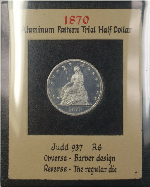 1870 Proof Aluminum 50c Pattern Coin Judd-937 NGC PF-64 Cameo R.E. Cox Jr WW