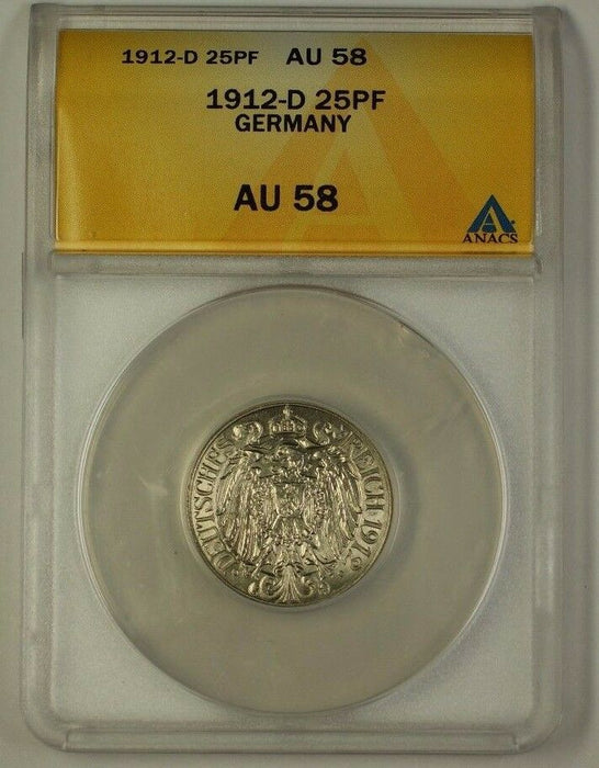 1912-D Germany 25 Phennig 25PF Coin ANACS AU-58
