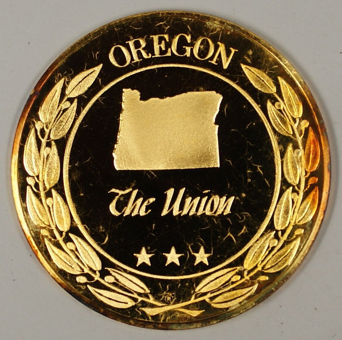 "Gold Plated Sterling Silver Proof Medal Oregon ""The Union"" in Plastic Case"