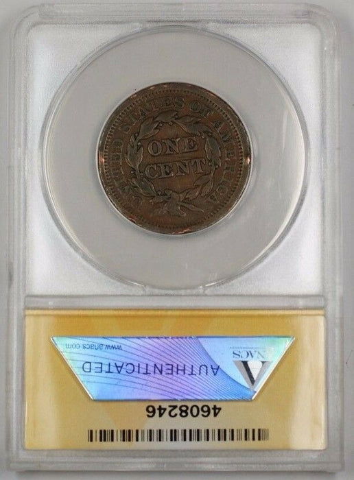 1852 US Braided Hair Large Cent Coin ANACS VF-25 Details Damaged