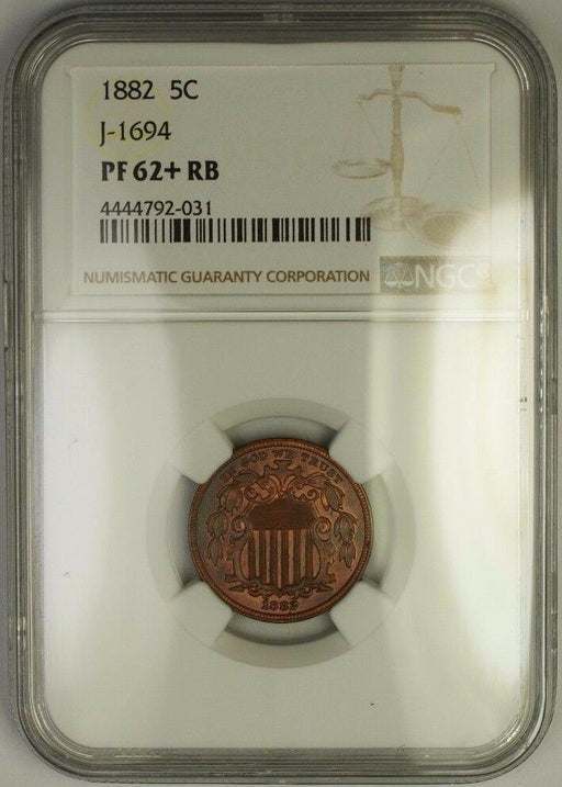 1882 Shield Nickel Pattern Proof Copper Coin NGC PF-62+ Plus RB J-1694 Judd WW