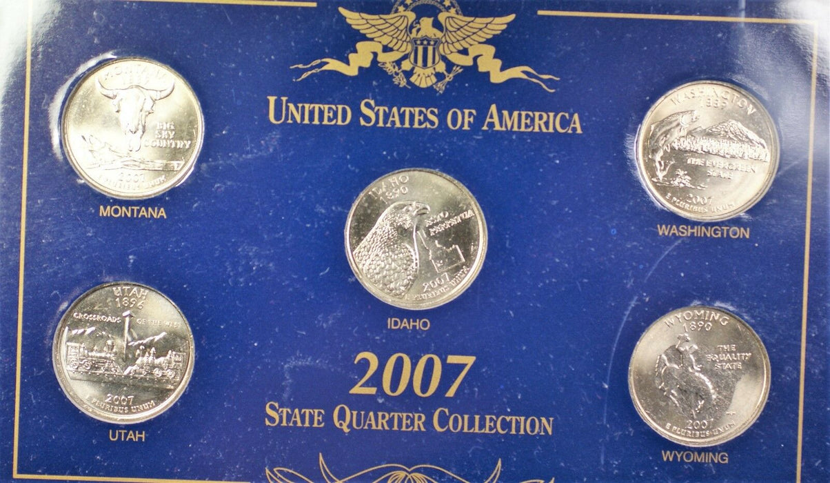 2007 United States Quarters 25 Cents Brilliant Uncirculated 5 Coin Collection