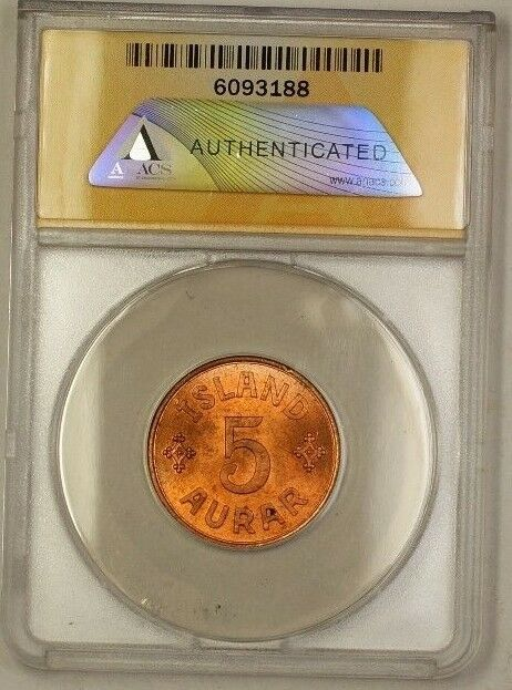 1942 Iceland 5A Five Aurar Copper Coin ANACS MS-63 Red (A)