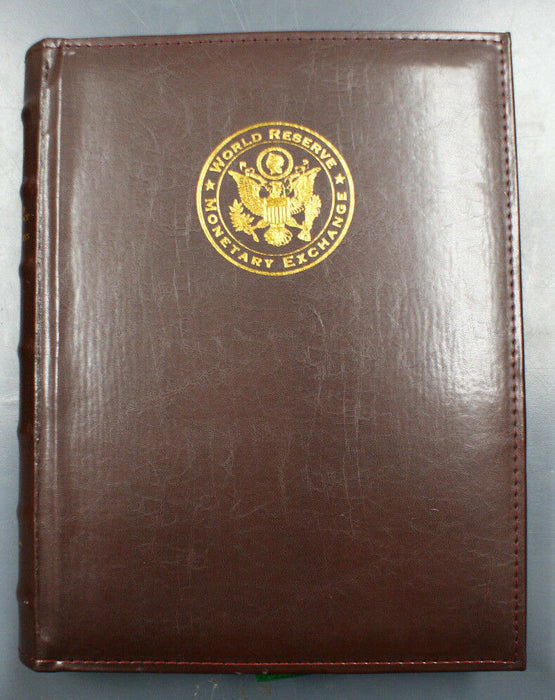 World Reserve Monetary Exchange Official Money Ledger Album-Brown Faux Leather