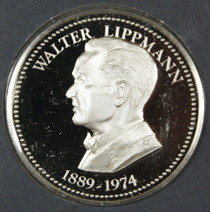 Walter Lippmann Proof Silver Medal, By The Franklin Mint, Sterling Silver Medal