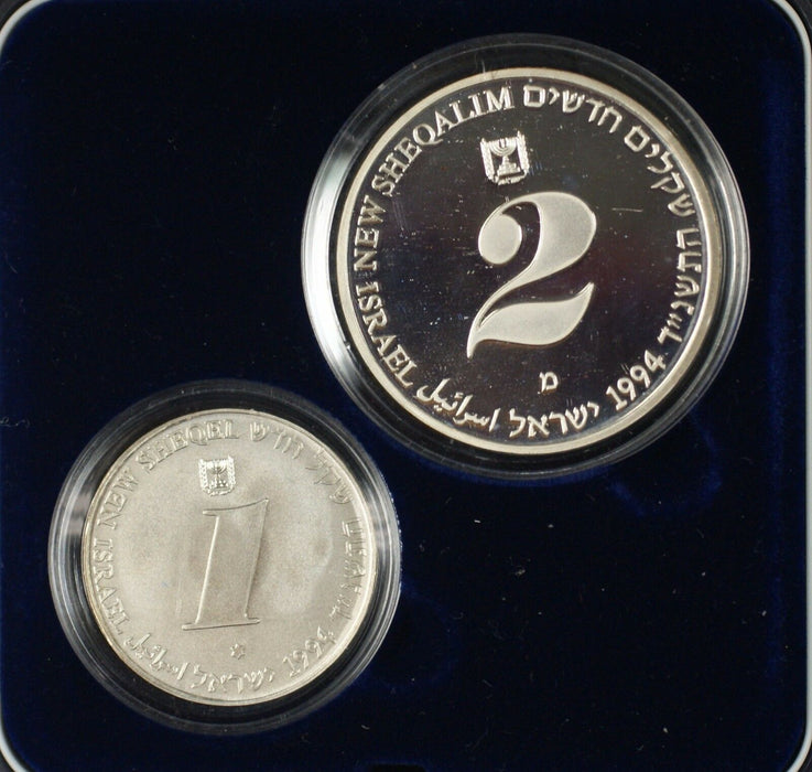 1994 Israel Sheqalim Independence Day 2 Coin Silver Proof & UNC Set w/ Box & COA