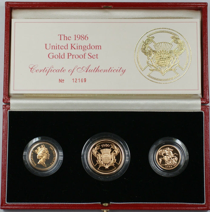 1986 United Kingdom UK Royal Mint 3 Coin Gold Proof Set with Case and COA WW