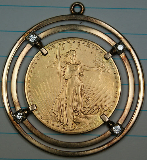 1910 $20 Gaudens Double Eagle Coin 10K Gold Diamond Pendant for Necklace Jewelry