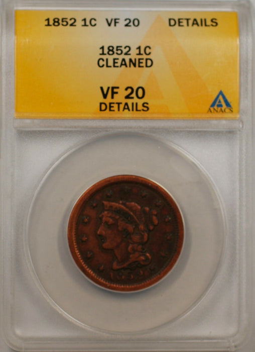 1852 Large Cent 1c Coin ANACS VF 20 Details Cleaned (C)