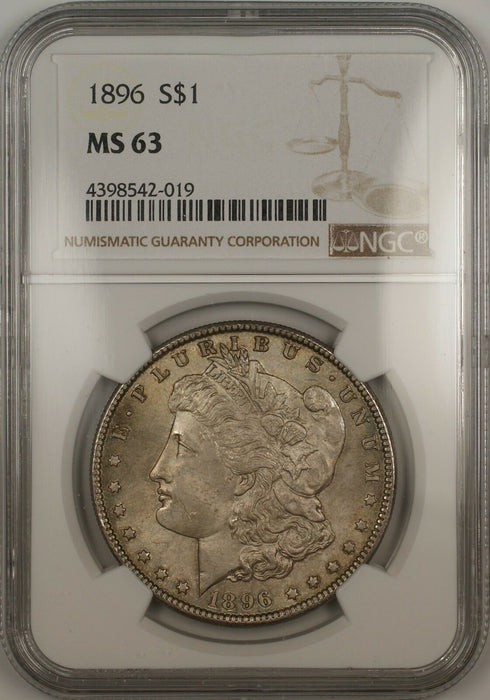 1896 Morgan Silver Dollar $1 NGC MS-63 Toned (Better Coin) (13c)