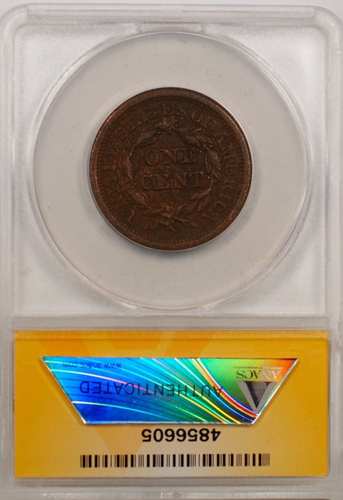 1852 Large Cent 1c Coin ANACS AU 50 Details Corroded