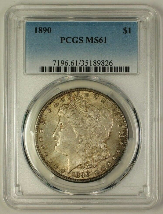 1890 US Morgan Silver Dollar Coin $1 PCGS MS-61 Toned (Much Better) (B) (18)