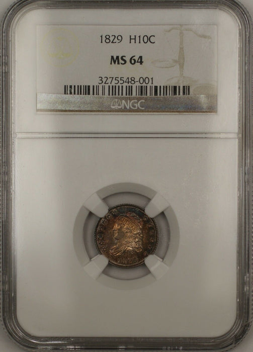 1829 Proof Capped Bust Silver Half Dime 5c Coin NGC MS-64 Toned (Proof) RARE