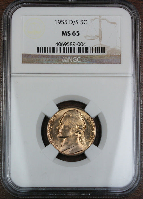 1955-D/S Jefferson Nickel Coin, NGC MS-65, Scarce OMM Variety