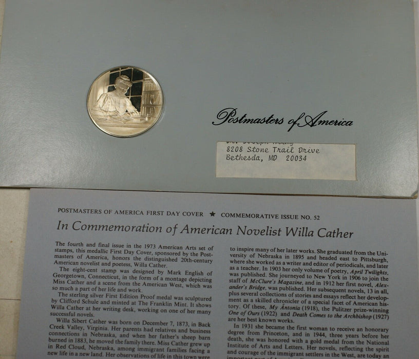 Willa Carter American Novelist Medal Proof Sterling Silver 1 Oz Cover