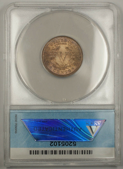 "1902 Liberty ""V"" Nickel Coin 5c ANACS MS-65 Beautiful Gem Example"