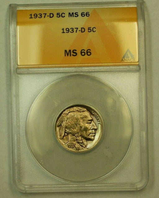 1937-D Buffalo Nickel 5c ANACS MS-66 (I) (WW)