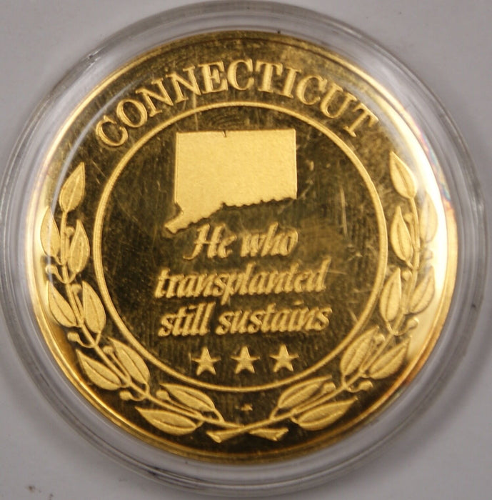 Gold Plated Sterling Silver Proof Medal Connecticut