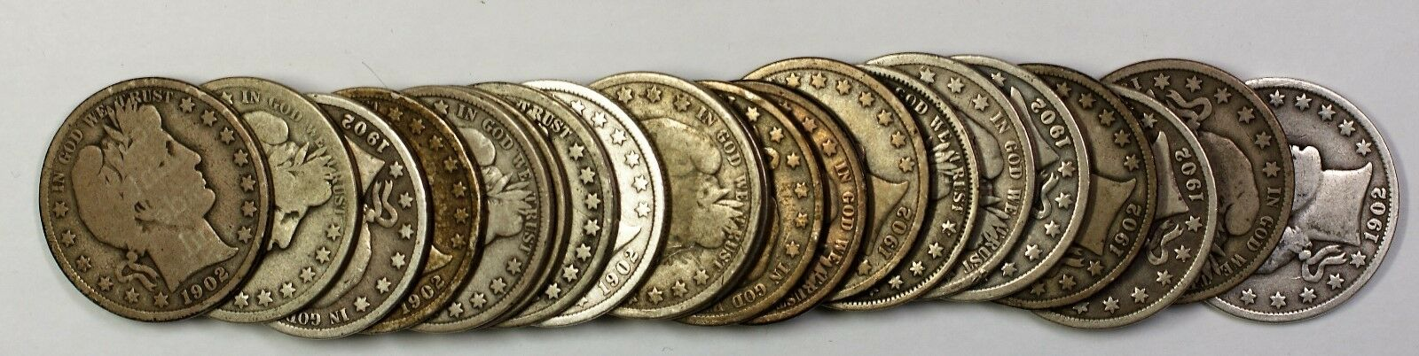1912-D Barber Half Dollar 50c Roll 20 Circulated 90% Old Silver Coins Lot