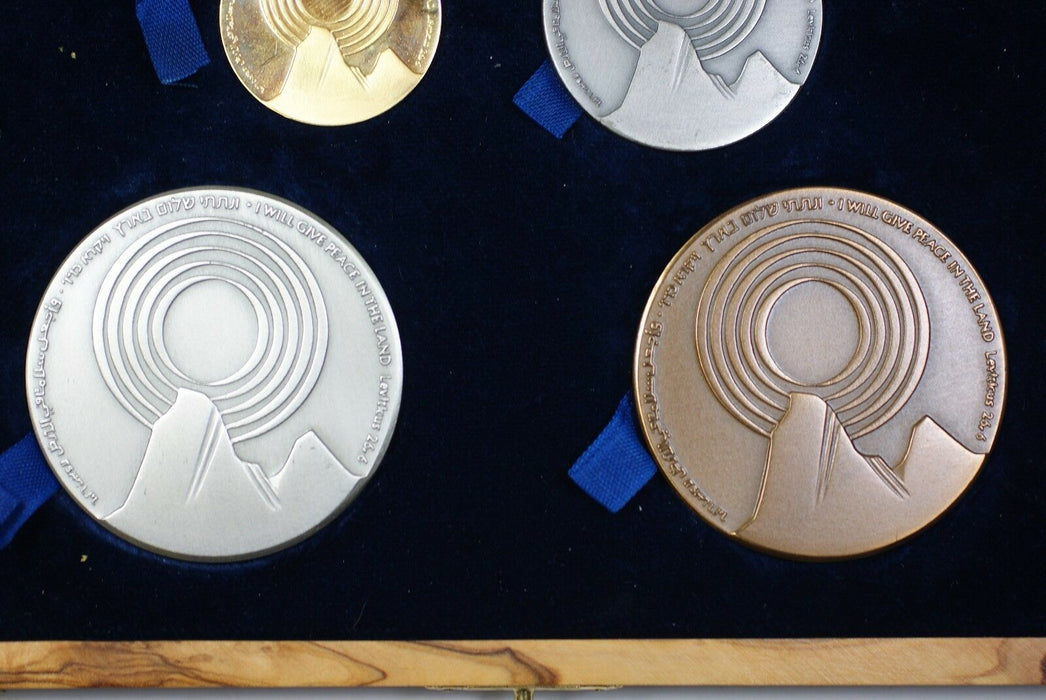 Israel 4 Pc Gold Silver & Bronze Peace State Medal Set w/ Wooden Case NO COA (A)